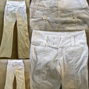 FOREVER 21 Chic Raised SEAMS White PANTS S…